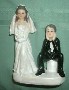HUMOROUS   BRIDE& GROOM COUPLE  WEDDING CAKE TOPPER '  VG-FREE SHIPPING
