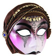 Fortune Teller Mysterious Gypsy Half Face Mask w Brown Scarf Costume Accessory