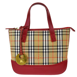 Auth BURBERRY Logos Nova Check Mini Hand Bag Canvas Leather Beige Red 69JC242