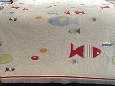 Pottery Barn Kids Full Queen Stripe Nautical Fish Quilt Reversible 84 X 84