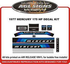 1977  MERCURY MARINE 175 hp V6 DECALS, MERC BLACK MAX 1750