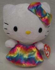 """TY Beanie Baby HELLO KITTY IN TIE DYE DRESS 6"""" Plush STUFFED ANIMAL Toy NEW"""