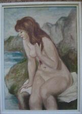 :: acto en el agua ° nude desnudas rollizas óleo Impressionist Antik Unsign./lb2
