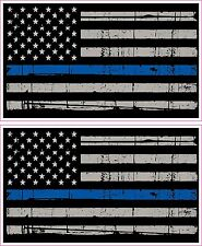 Thin Blue Line American Flag Distressed Police Vinyl Sticker Decal x 2