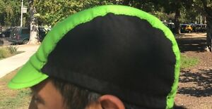 Cycling cap  BLACK & GREEN LIGHT one size 100% COTTON   handmade new