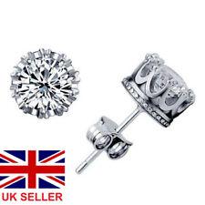 Womens Mens Earrings Crown Round Stud Ladies Jewellery 925 Sterling Silver Plate