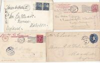 * 1900/16 4 x USA TO UK (2) DENMARK & GERMANY ALL BY NAMED SHIPS - MARITIME POST