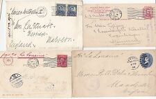 * 1900/16 4 x USA a REGNO UNITO (2) Danimarca & Germania da tutte le navi con nome-Maritime POST