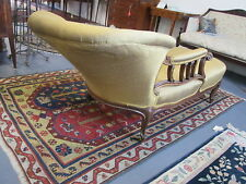 Louis Xv Style Walnut Recamier Fine Antique W/ Gold Incised Highlights Wide Back