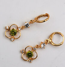 Pretty 14K Plating Gold Filled Peridot Crystal Clear White CZ Earrings eh-019