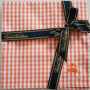 New BROOKS BROTHERS Coral White Check Plaid Printed 100% Cotton Handkerchief