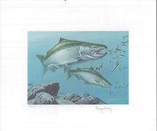 North Dakota 1984 State Trout & Salmon Stamp Print By Roger Cruwys + Mint Stamp