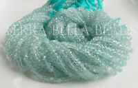 "12.5"" strand blue AAA AQUAMARINE faceted gem stone rondelle beads 3mm"
