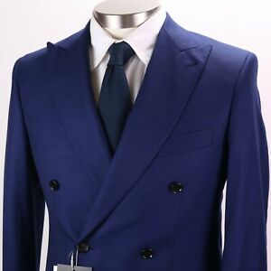 New INDOCHINO Double Breasted Blue Wool/Cashmere Blazer Custom ~38 EH02
