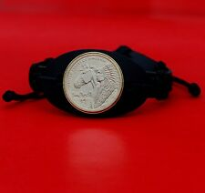 2012 Native American Sacagawea Dollar Coin Genuine Leather Wristband Bracelet