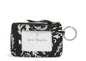 Vera Bradley Top Zip ID Key FOB Case Coin Change Purse Paisley Noir New