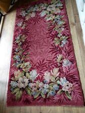 Vintage Original Kitsch 1950/60's Mid-Century Reds Pinks Floral Rose Wool Rug.