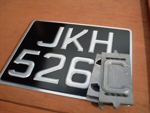 """CLASSIC Pressed Motorcycle number plate & SILVER FRAME [ 9""""x 7""""] *HEAVY DUTY*"""