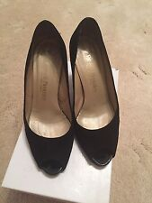 Black Suede Peep Toe Shoes By Russel & Bromley, Size 4