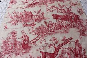"""Antique French Romantic Printed Red & White Linen Toile c1890~1 yd 2""""L X 32""""W"""
