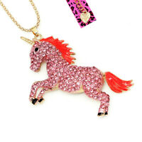 Betsey Johnson Enamel Crystal Cute Horse Unicorn Pendant Sweater Chain Necklace