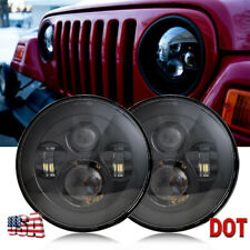 "Pair 7"" Black Led Projector Osram Headlights Light Bulb for Jeep Wrangler JK LJ"