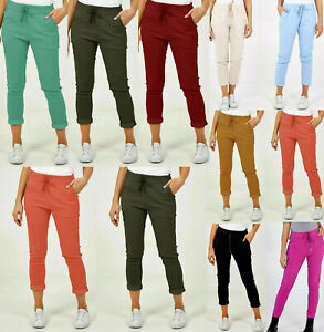 Women's Ladies Italian Stretch Plain Magic Comfy Lagenlook Trousers Joggers Pant