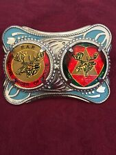 Royal Order Of Moose Double Glass Inlaid Logos On Silver Belt Buckle