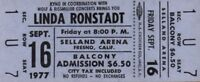 LINDA RONSTADT 1977 SIMPLE DREAMS TOUR UNUSED SELLAND ARENA CONCERT TICKET No. 2