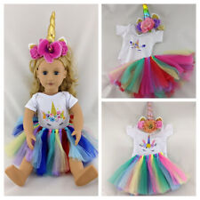 More details for unicorn clothes, top, skirt & headband fits our generation / american girl doll