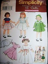 "Simplicity Archives Pattern # 3929 Vintage 1952 Styles to Make for 18"" Dolls"