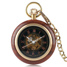 Luxury Carving Wood Gold Roman Numerals Mechanical Hand Wind Pocket Watch Chain