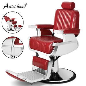 Heavy Duty Hydraulic Recline Red Barber Chair Salon Beauty All Purpose Equipment