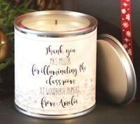 Personalised thank you teacher/teaching assistant/head teacher candle gift