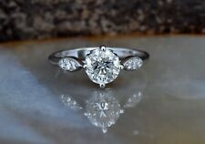 Accent Solitaire Engagement Ring 2ct Round Cut VVS1D Diamond 14k White Gold Over