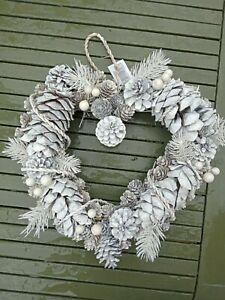 White heart pinecone christmas wreath