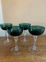 "SET OF 4 Tiffin KILLARNEY (Stem 15074) 6-1/4"" Champagne/Tall Sherbet; Green; EUC"