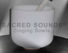 CRYSTAL SINGING BOWL 10 INCH 3rd EYE CHAKRA NOTE A QUARTZ FROSTED FUSION BOWLS