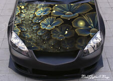 Abstract Flowers Hood Full Color Graphic Wrap Decal Vinyl Sticker Fit any Car 24