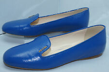 New Prada Womens Shoes Ballet Flats Size 40 Calzature Donna Vernice Blue Leather