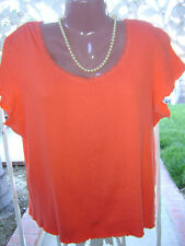 ~FADED GLORY SHORT SLEEVED ORANGE STRETCH TOP – 16/18~
