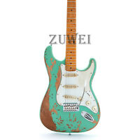 Heavy Relic ST Electric Guitar Aged Hardware Nitro Finish Green Color