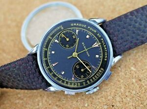 Vintage mens Election manual wind chronograph Valjoux 22 fancy lugs black dial!!
