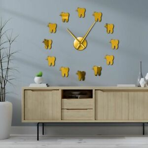 3D Wall Clock Dentist Teeth Dental Contemporary Acrylic Mirror Effect Watch Gift