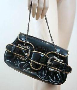 FENDI Designer Black Leather Patent / Antique Gold Trim Buckle Evening Tote Bag