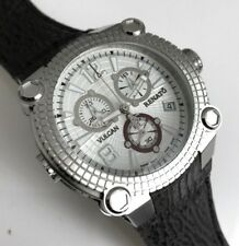 New Mens Reanto Vulcan 45mm Silver Dial Swiss Chronograph Gray Shark Skin Watch