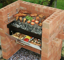 Bbq Grill Brick Outdoor Barbecue Stainless Portable Smoker Charcoal Grilling Set