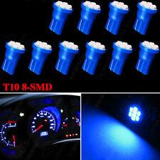 10x T10 8-SMD Blue LED Interior, Instrument, License Light W5W 194 168 2825 158