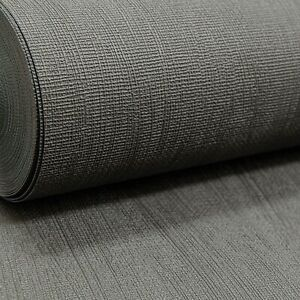 Rasch Plain Charcoal Black Dark Grey Textured Vinyl Wallpaper Paste the Wall