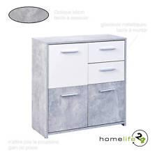 Commode moderne béton gris clair blanc 3 portes 2 tiroirs avec glissières mét...